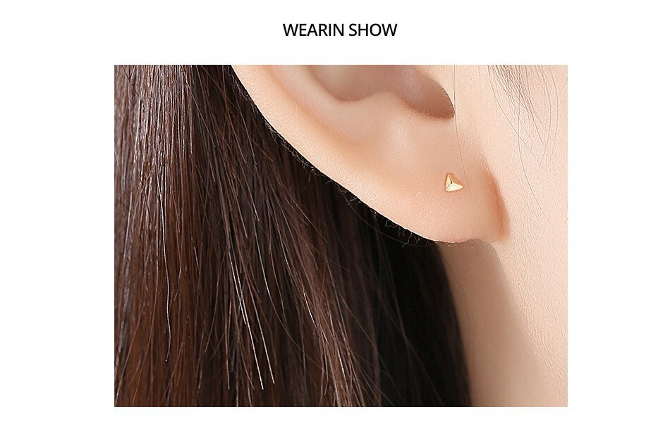 14K Gold Triangle Pyramid Stud Earrings for Women