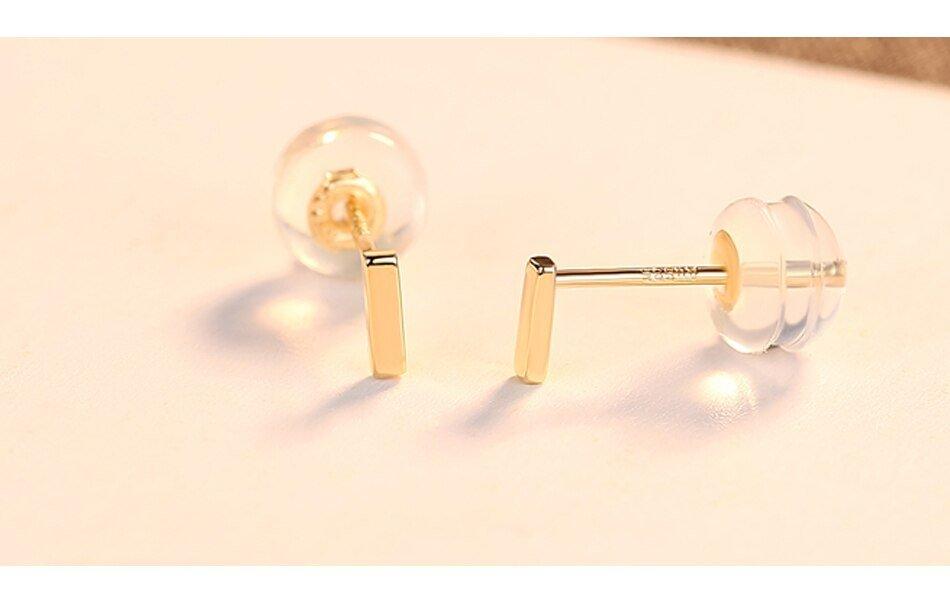 14K Gold Mini Bar Stud Earrings for Women