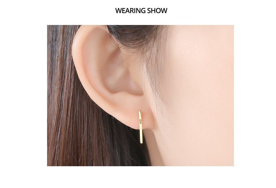 14K Gold Minimalist Post Bar Drop Earrings for Women