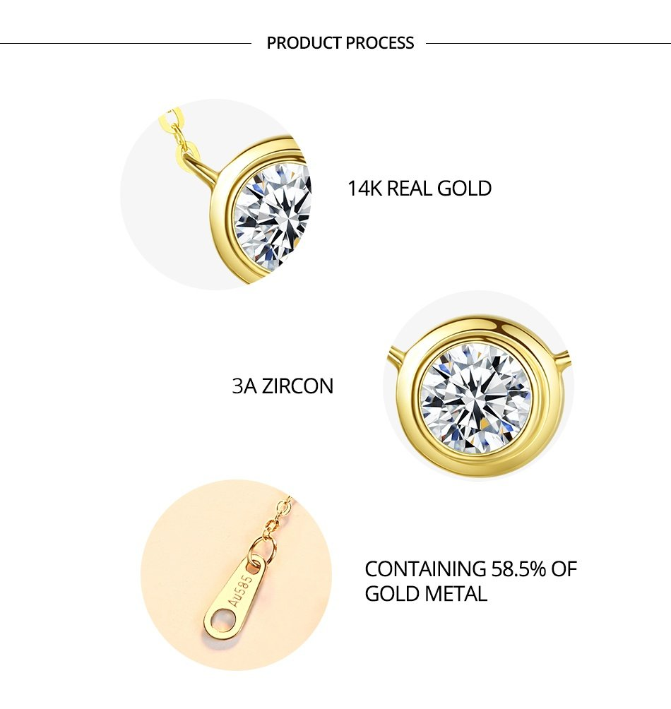 14K Gold Wedding Engagement Yellow Gold Pendant Necklaces for Women Round Colar De Ouro Pur Au585 Gifts N14067