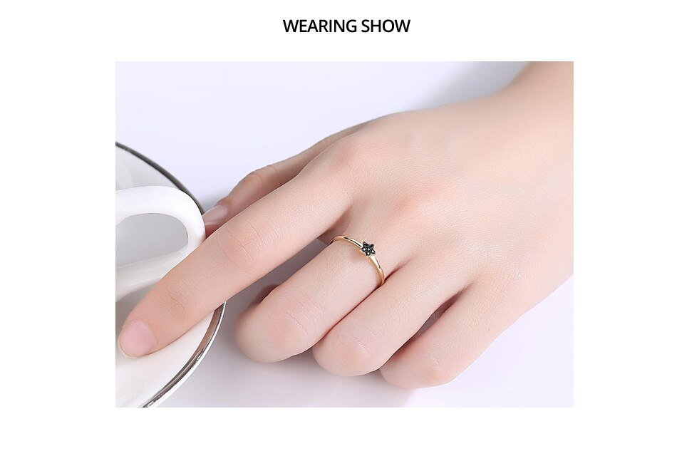 14K Gold Round Star CZ Solid Ring for Women