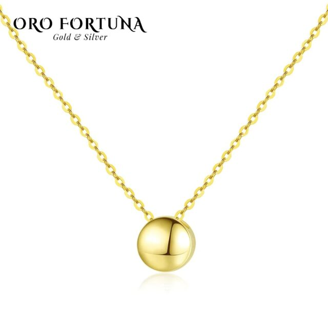 14k Gold Round Pendant Necklace For Women