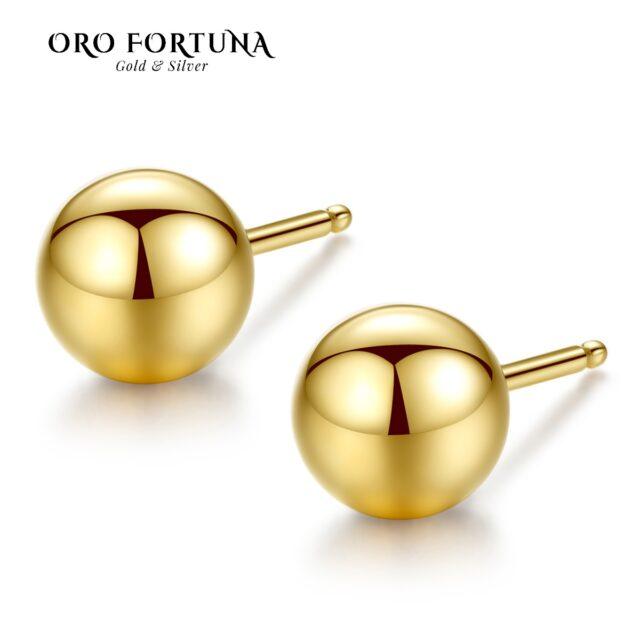 18k Gold Ball Bead Round Stud Earrings