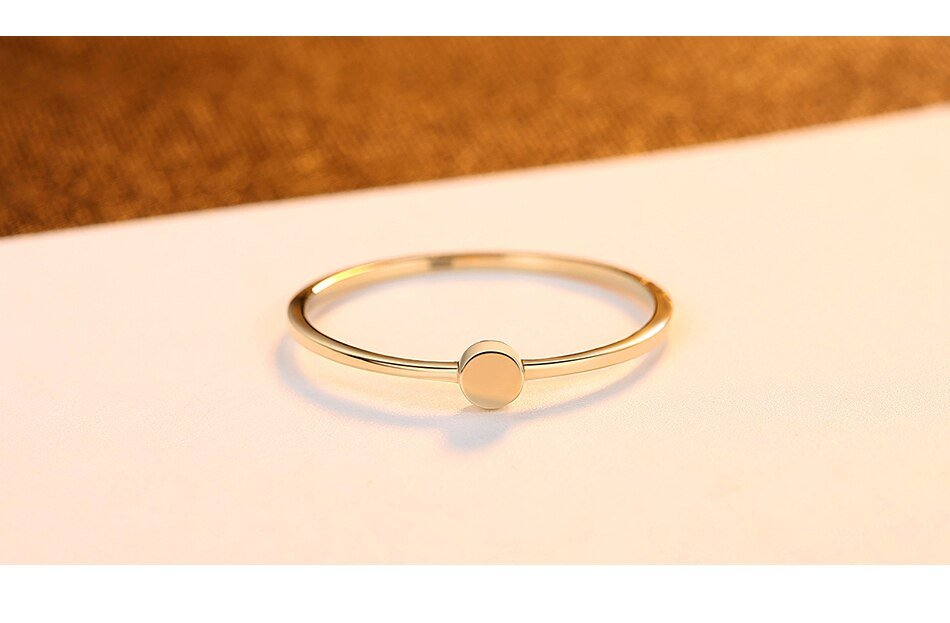 14K Gold Classic Tiny Minimalist Round Ring for Women