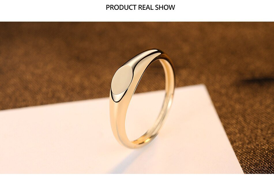 14K Gold Minimalist Solid Polished Ring For Women