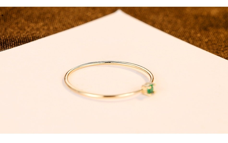 14k Gold Minimalist CZ Ring for Women