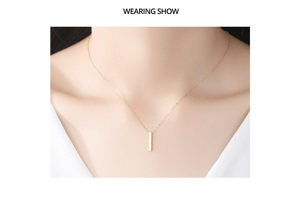 Gem&Time New Dainty Mini Bar 14K Gold Pendant Necklaces for Women Wedding Engagement Fine Jewelry Yellow Gold Kolye AU585 N14071