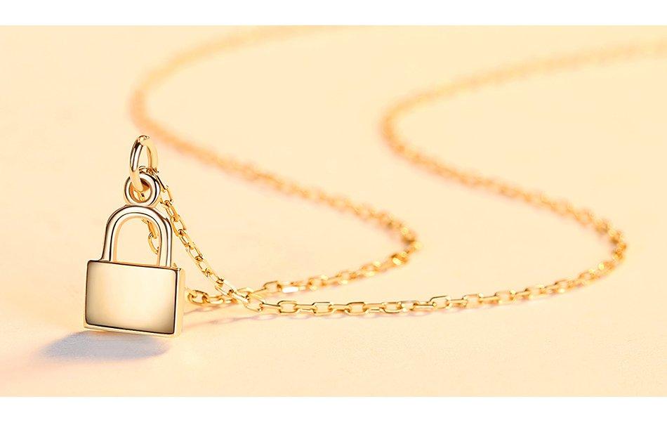 14K Gold Simple Padlock Lock Necklace