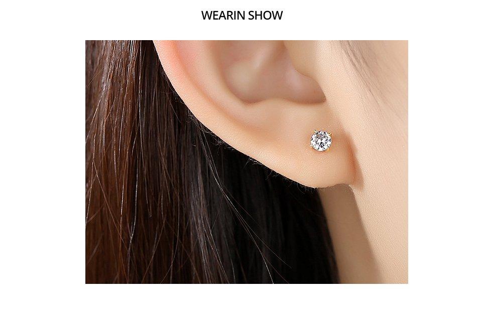 Gem&Time 4MM Genuine 14K Gold Zircon Round Stud Earring For Women Bridal AAA CZ Yellow Gold Ear Fine Jewelry E14157 Bijoux Femme