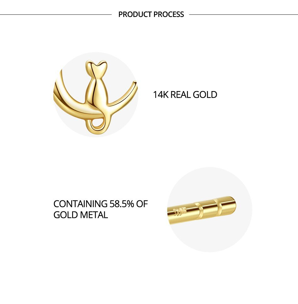 Gem&Time Solid 14K Gold 585 Cute Cat on Moon Stud Earrings for Women Wedding Engagement 14K Yellow Gold Pendientes E14050
