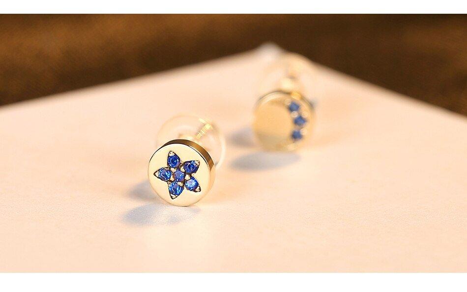 Gem&Time Geometric Sapphire Star&Moon Stud Earrings 14k Gold 585 Earrings For Women Gemstone Jewelry Bijoux En Or Pur E14926