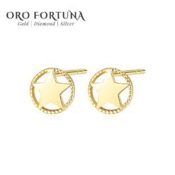 14K Gold New Star Stud Earrings for Women