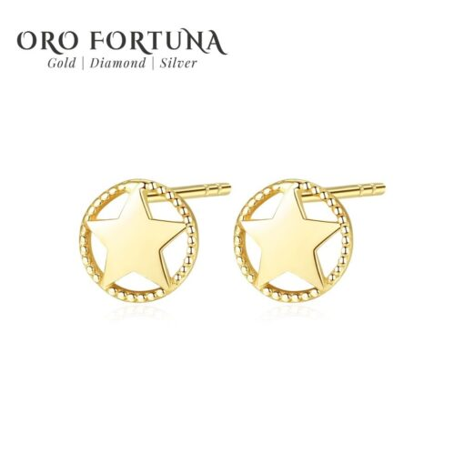 14K Gold New Star Stud Earrings for Women