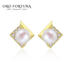 Gem&Time Round Natural Freshwater Pearl Stud Earrings for Women Gemstone 14k Yellow Gold Jewelry Pendientes De Ouro Pur E14127