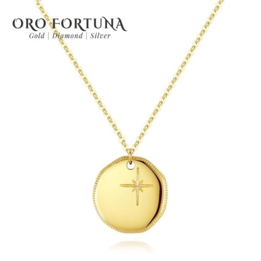 Gem&Time Exquisite 14K Gold Round Pendant Necklace for Women Dating Au585 Clavicular Chain 14K Yellow Gold Fine Jewelry N14932