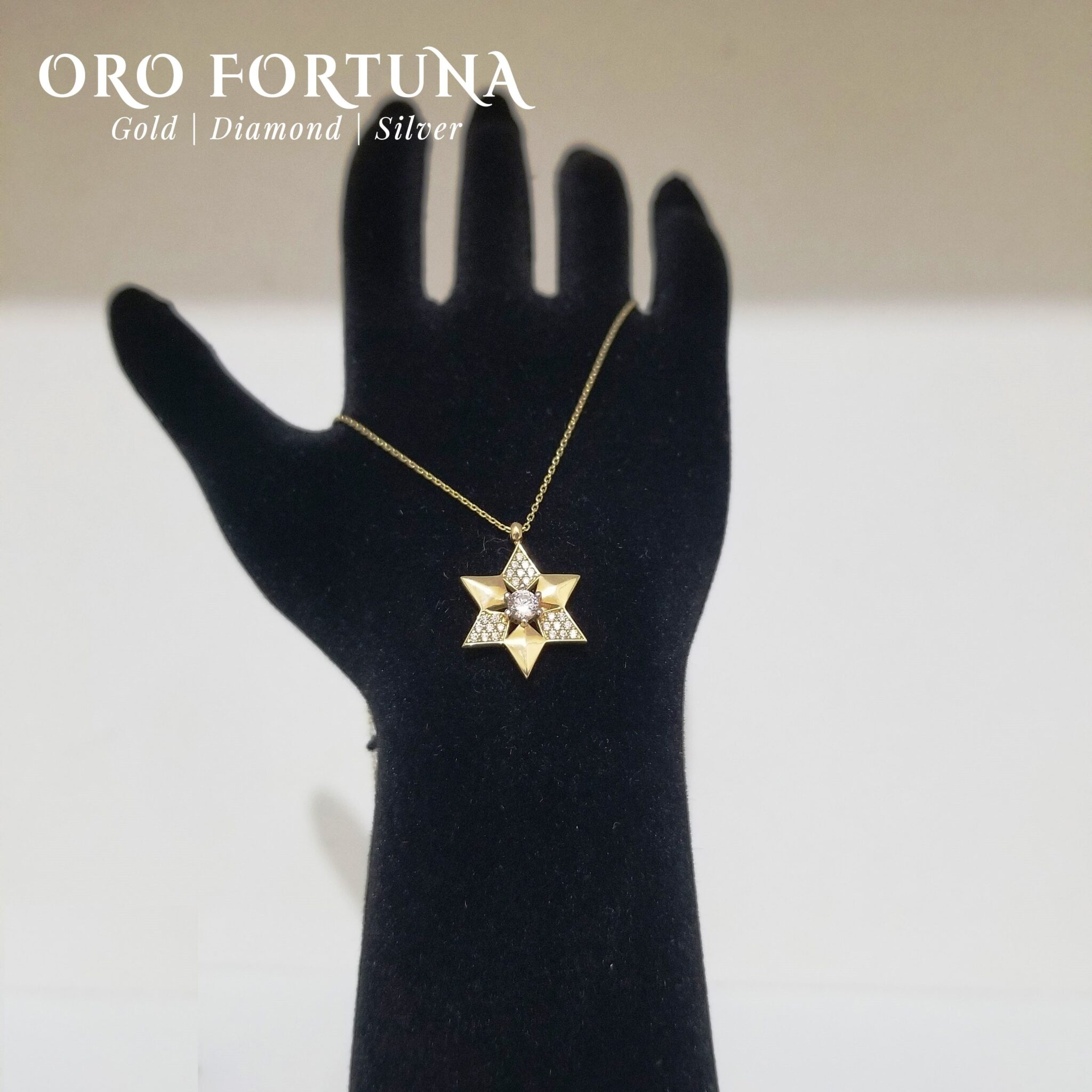 14K Yellow Gold Star of David Necklace Women Gift for Each Fine Fashion Trendy Minimalistic Dainty Fashionable