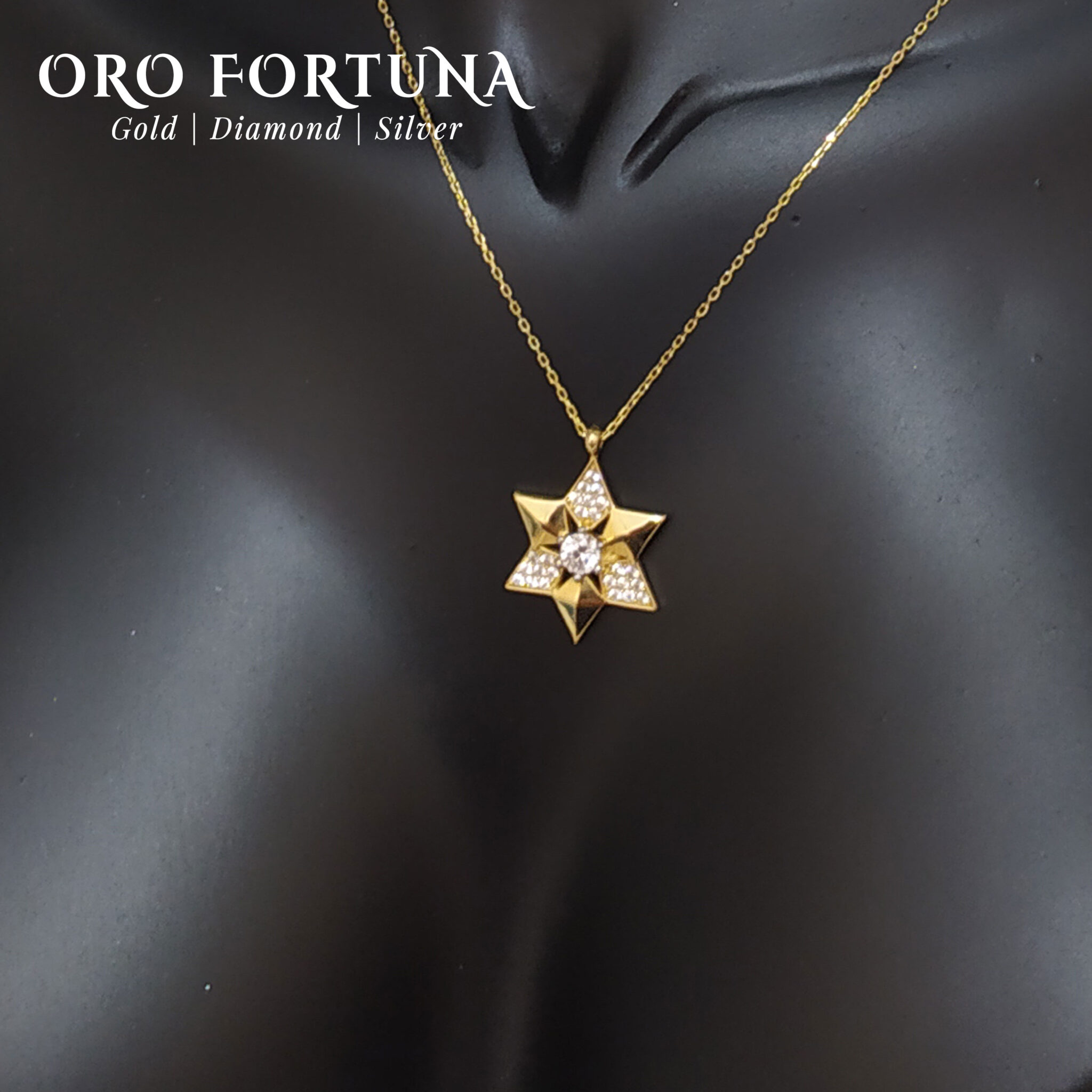 21K Yellow Gold Star of David Necklace Women Gift for Each Fine Fashion Trendy Minimalistic Dainty Fashionable
