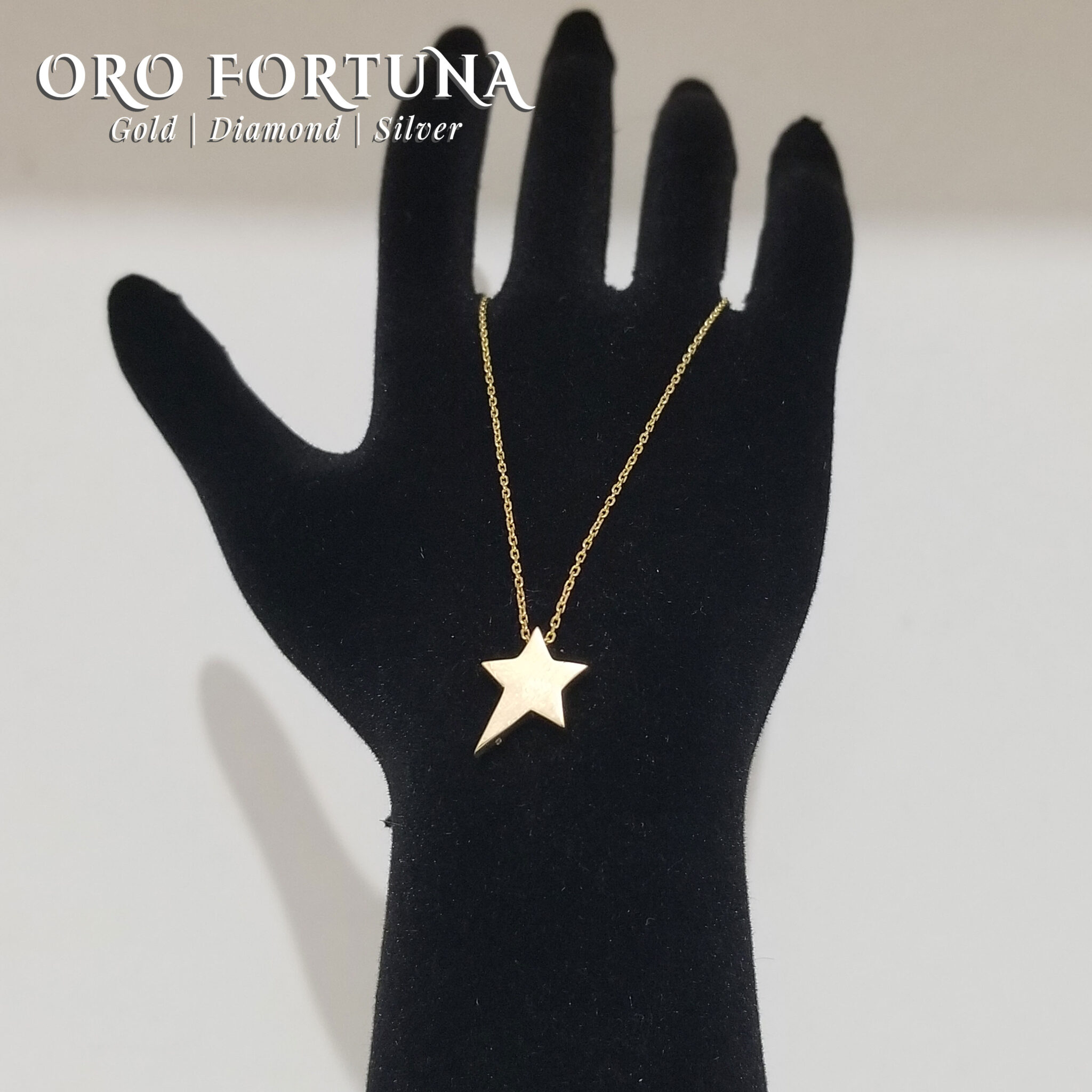 21K Yellow Gold Plain Star Necklace Women Gift for Each Fine Fashion Trendy Minimalistic Dainty Fashionable