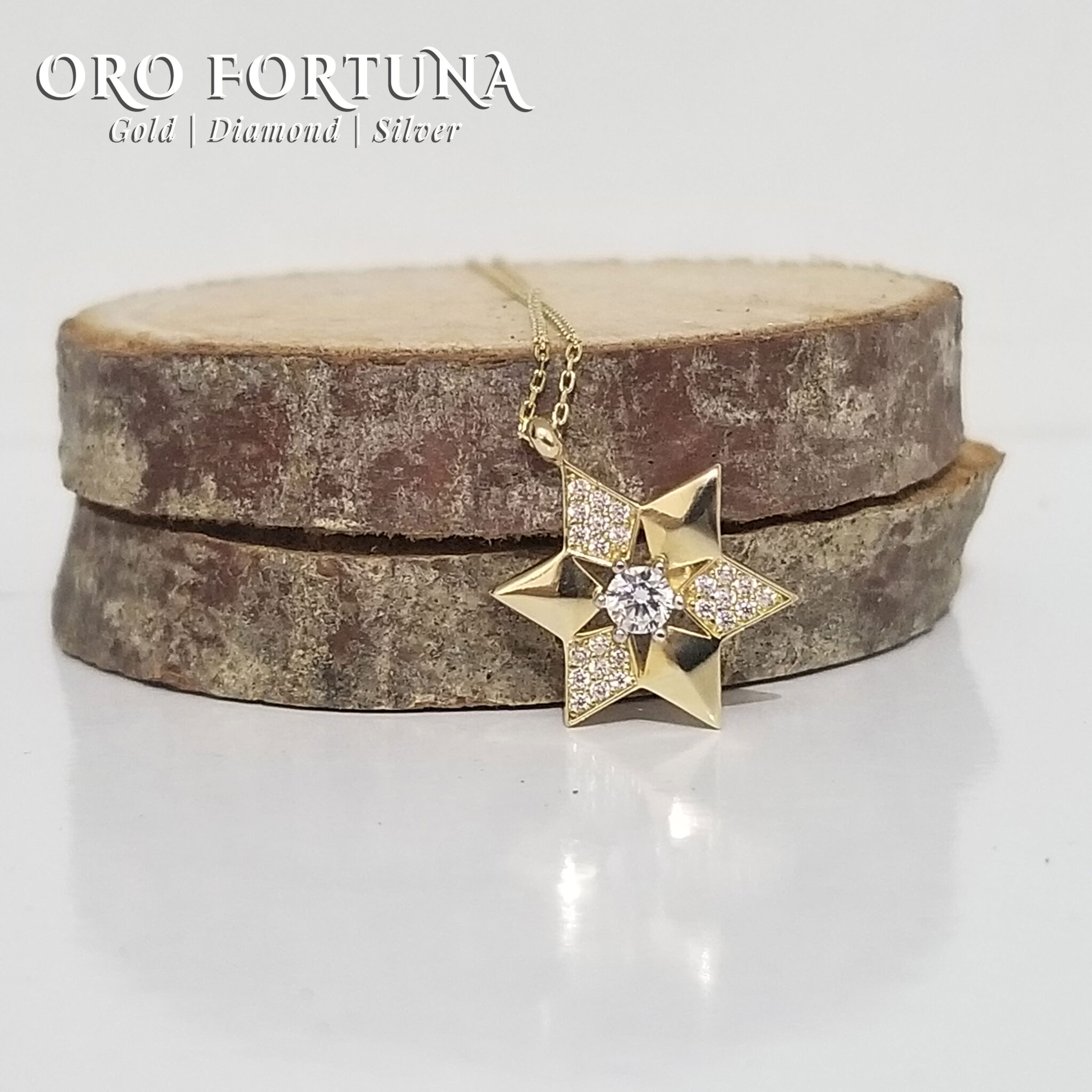18K Yellow Gold Star of David Necklace Women Gift for Each Fine Fashion Trendy Minimalistic Dainty Fashionable